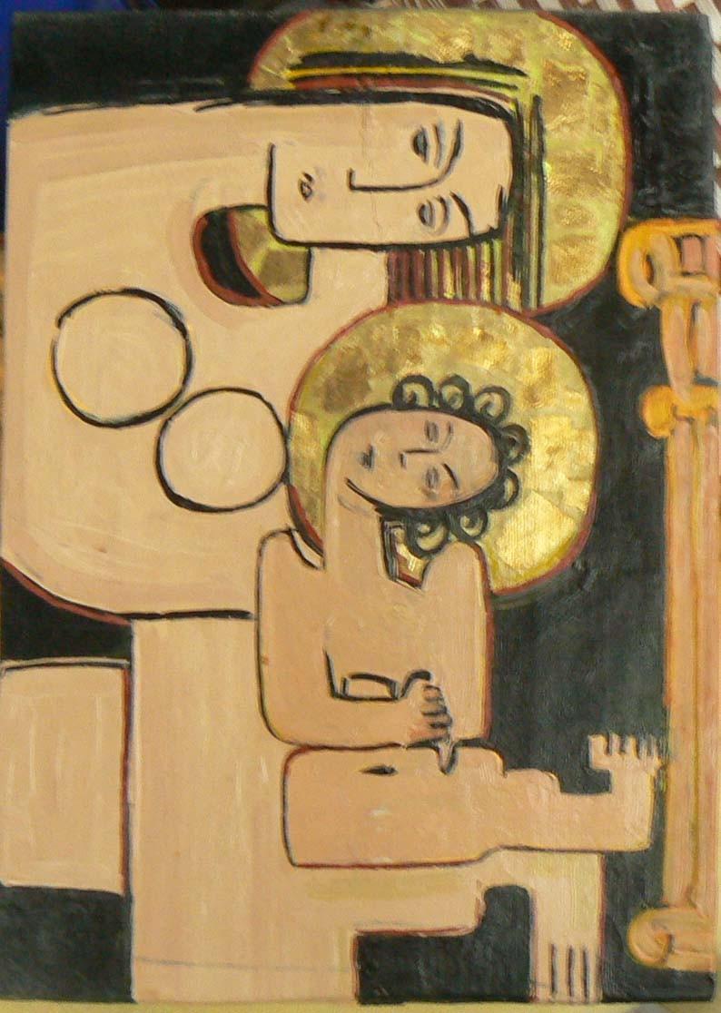 Sărutul Maicii Domnului, ulei, lemn, 2005, SP