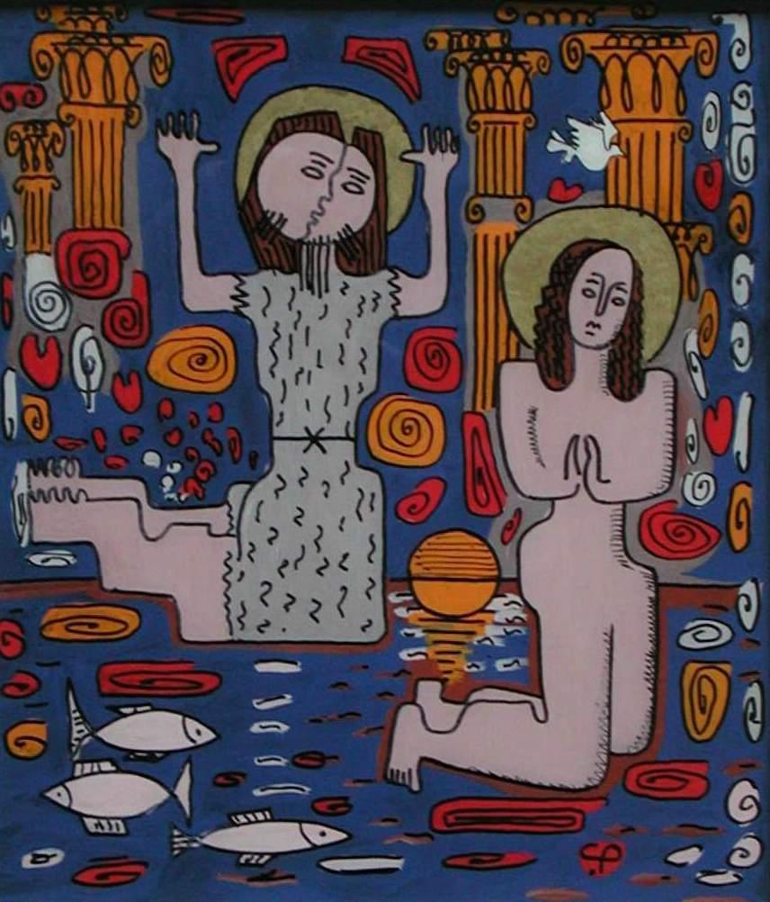 Botezul, sticlă, tempera, A3, 2002, CP