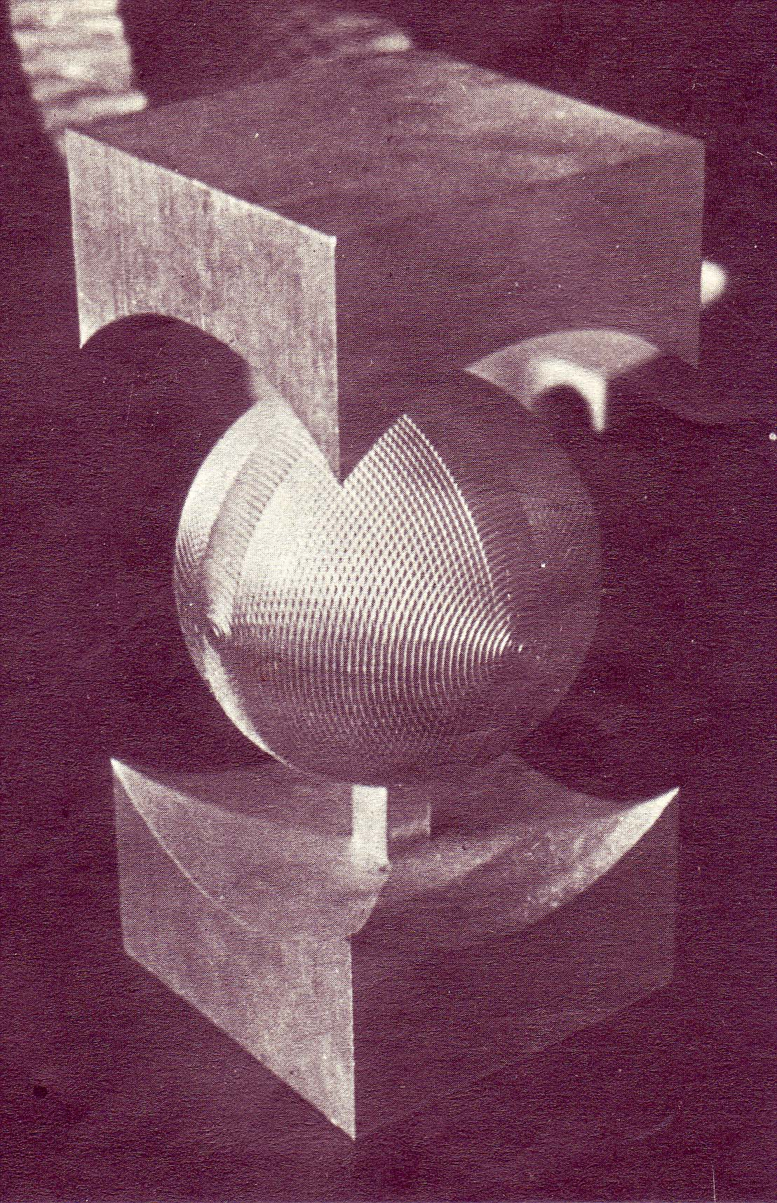 Sfera computer sculture, duraluminiu, foto Agerpres, 1986, Miniprocesor postprocesor, ADAPT OSIM