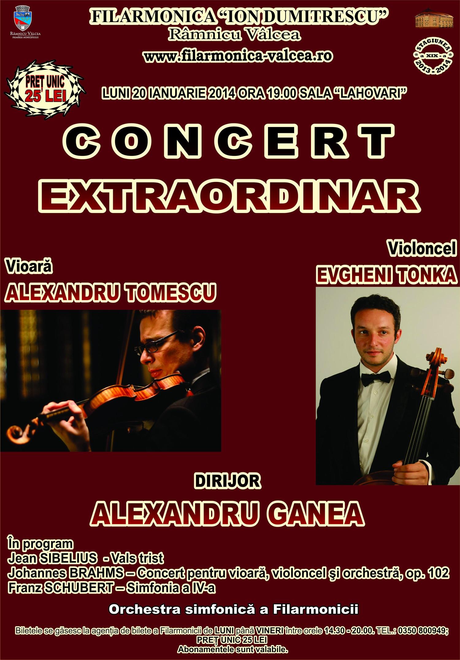 Afis, 20 IAnuarie 2014, Filarmonica Rm Valcea